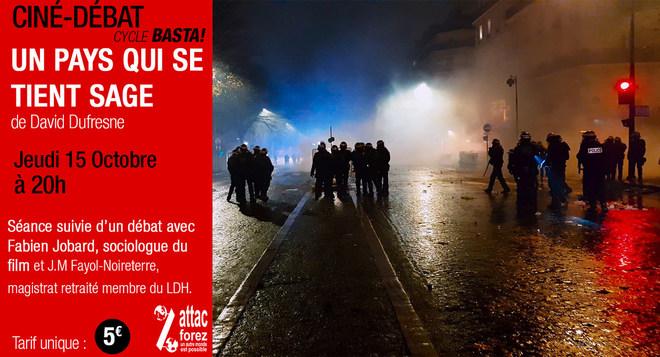BASTA : Un pays qui se tient sage le jeudi 15 octobre à 20h en présence de Fabien Jobard, sociologue du film