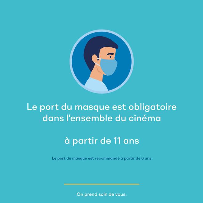 Port du masque obligatoire dans l'ensemble du cinéma