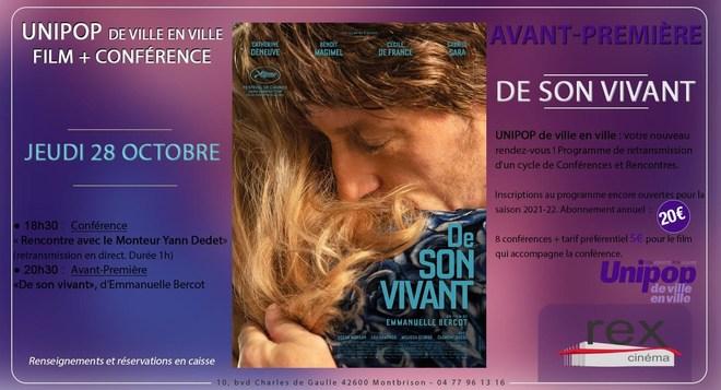 """UNIPOP - Conférence +  """"DE SON VIVANT"""", en Avant-Première le 28 Octobre"""