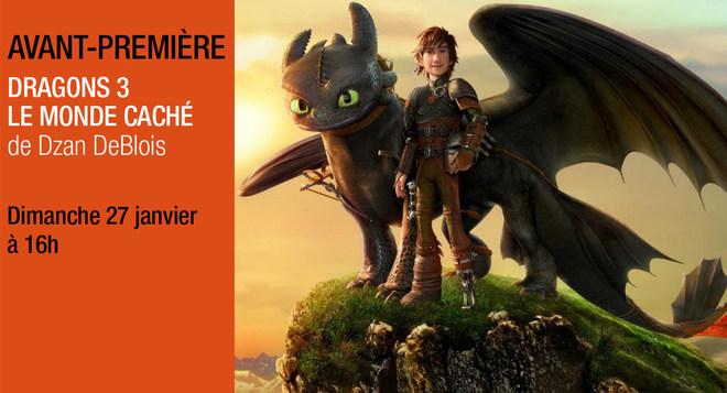 Avant-Première - DRAGONS 3 LE MONDE CACHE - Dimanche 27 Janvier à 16h