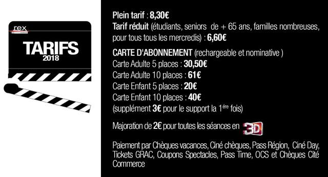 Carte Cezam Ticket Cinema.Les Tarifs Du Cine Rex Montbrison